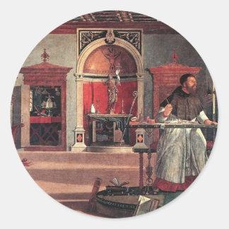St Augustine in seiner Studie - Vittore Carpaccio Runder Aufkleber