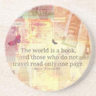 St- Augustinewelt ist ein Buchreisezitat Sandstein Untersetzer