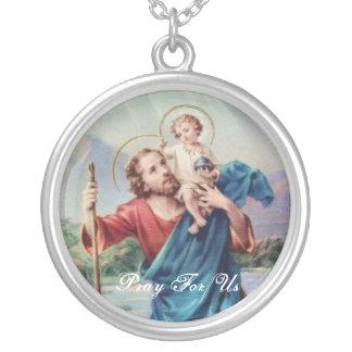 St Christopher Versilberte Kette