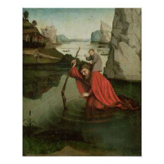 St Christopher, welches das Christus-Kind trägt Poster