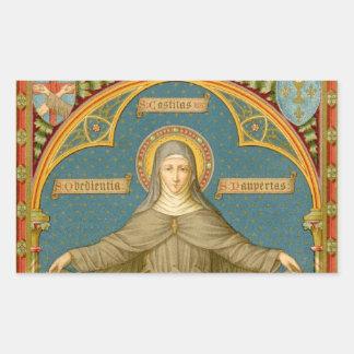 St. Clare von Assisi u. Rollen der Versprechen Rechteckiger Aufkleber