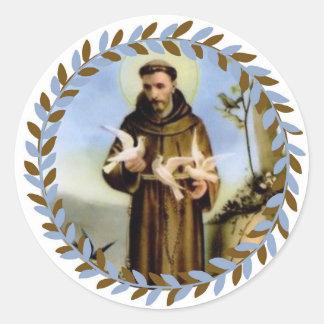 St Francis von Assisi-Schutzpatron der Tiere Runder Aufkleber
