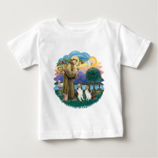 St Francis (W) - 2 Shelties (D&L) Baby T-shirt
