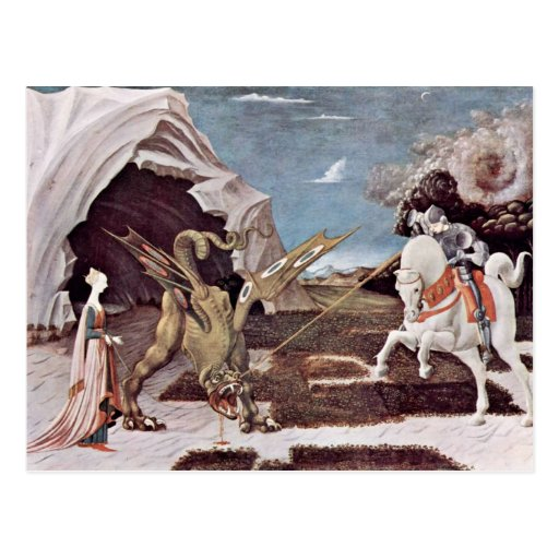 St George, das den Drachen durch Uccello Paolo Postkarte