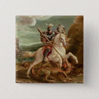 St George, das den Drachen, (Öl, tötet auf Platte) Quadratischer Button 5,1 Cm