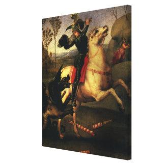 St George, das den Drachen, RAPHAEL, Raffaello Leinwanddruck