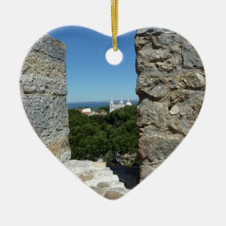 St George Schloss-Grußkarte (Lissabon, Portugal) Keramik Herz-Ornament