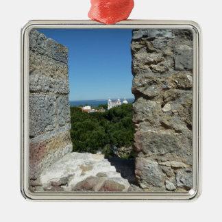 St George Schloss-Grußkarte (Lissabon, Portugal) Quadratisches Silberfarbenes Ornament