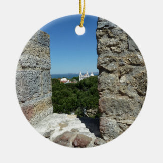 St George Schloss-Grußkarte (Lissabon, Portugal) Rundes Keramik Ornament
