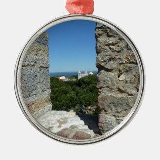 St George Schloss-Grußkarte (Lissabon, Portugal) Rundes Silberfarbenes Ornament
