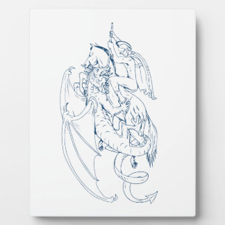 St George töten das Drache-Zeichnen Fotoplatte
