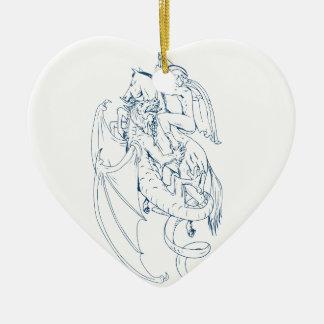 St George töten das Drache-Zeichnen Keramik Herz-Ornament