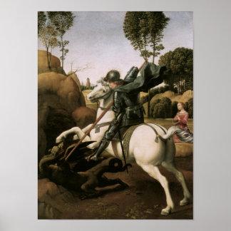 St George u. der Drache, RAPHAEL-schöne Kunst Poster