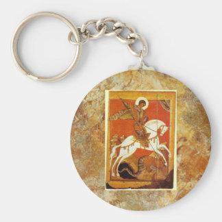 St George und der Drache mittelalterlich Standard Runder Schlüsselanhänger