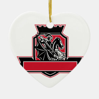St Georgeslaying-Drache-Wappen Retro Keramik Herz-Ornament