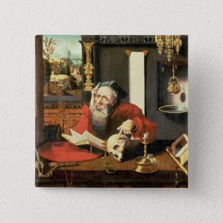 St Jerome in seiner Studie Quadratischer Button 5,1 Cm