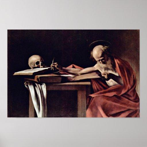 St- Jeromeschreiben durch Michelangelo Merisi DA C Plakate