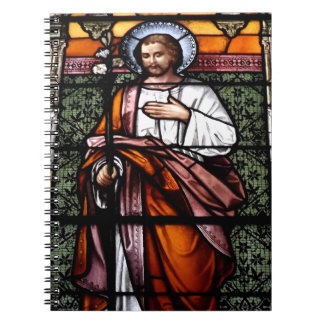 St Joseph beten für uns - Buntglasfenster Notizblock