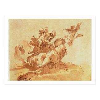 St Joseph, der das Christus-Kind verehrt (Stift, Postkarte