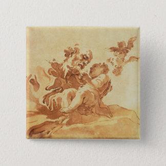 St Joseph, der das Christus-Kind verehrt (Stift, Quadratischer Button 5,1 Cm