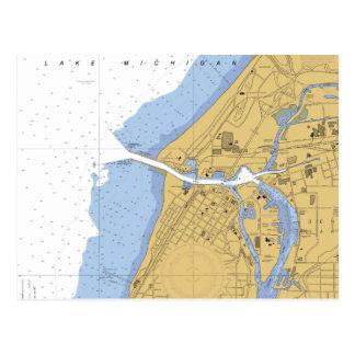 St Joseph, MI-Seehafen-Diagramm-Postkarte Postkarte