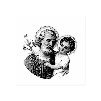 St Joseph mit dem Baby Jesus Gummistempel