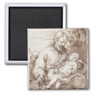 St Joseph mit dem schlafenden Christus-Kind (Stift Quadratischer Magnet