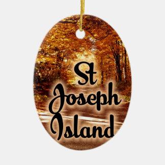 St- Josephinsel mit Fallfarben Keramik Ornament