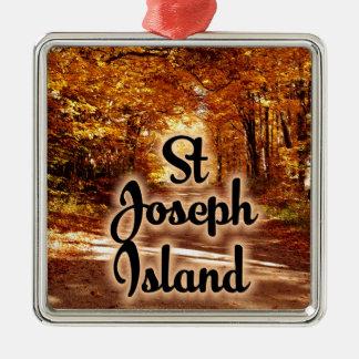 St- Josephinsel mit Fallfarben Silbernes Ornament
