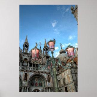 St. Kennzeichen und Lampe, Venedig, Italien Poster