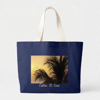 St- LuciaPalme-Sonnenuntergang-Taschentasche Jumbo Stoffbeutel