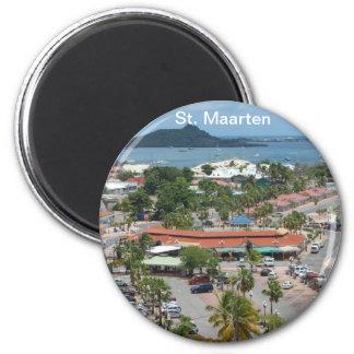 St. Maarten - Marigot Bucht Runder Magnet 5,7 Cm