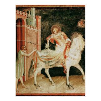 St Martin, das seinen Mantel mit dem Bettler teilt Postkarte