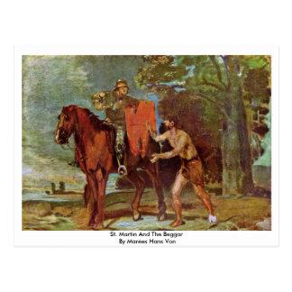 St Martin und der Bettler durch Marées Hans Von Postkarte