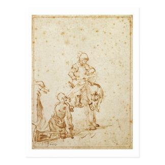 St Martin und der Bettler (Stift u. Tinte auf Postkarte