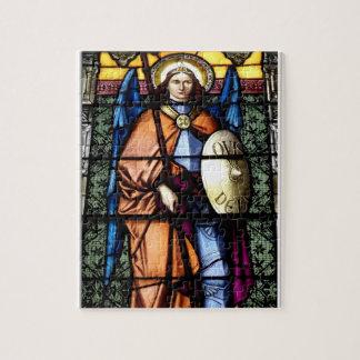 St Michael das Erzengel-Buntglas-Fenster Puzzle