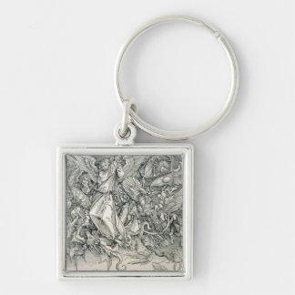 St Michael, das mit dem Drachen kämpft Silberfarbener Quadratischer Schlüsselanhänger