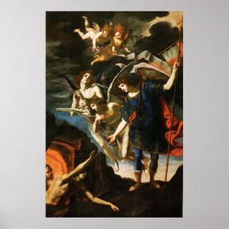 St Michael der Erzengel, der Soule im Fegefeuer Poster