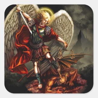 St Michael der Erzengel Quadratischer Aufkleber