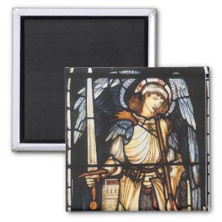 St Michael durch Burne Jones, Vintager Erzengel Quadratischer Magnet