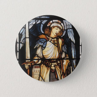 St Michael durch Burne Jones, Vintager Erzengel Runder Button 5,7 Cm