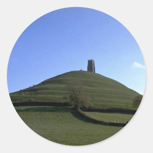 St Michael Kapelle und Felsen, Glastonbury, Somers Runde Sticker