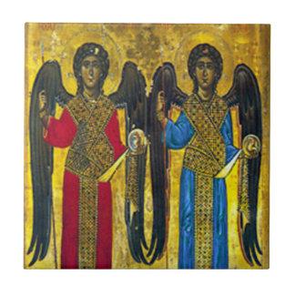 St- Michael und St- Gabrielikone Keramik-Fliese Kleine Quadratische Fliese
