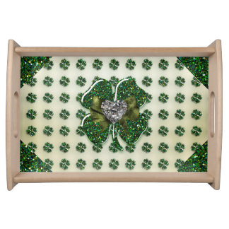 St Patrick funkelnd Kleeblatt mit Herzen Tabletts