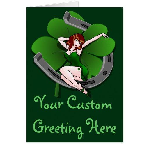 St Patrick Kartepersonalisierte glückliche Pinup-K Grußkarten