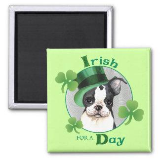 St Patrick Tag Boston Terrier Quadratischer Magnet