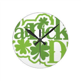 St Patrick Tag, Heiliger Patrick-Irenentwurf Runde Wanduhr