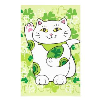 St Patrick Tag Maneki Neko (glückliche Katze) Briefpapier