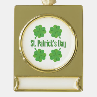 St Patrick Tag mit Klee Banner-Ornament Gold