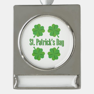 St Patrick Tag mit Klee Banner-Ornament Silber